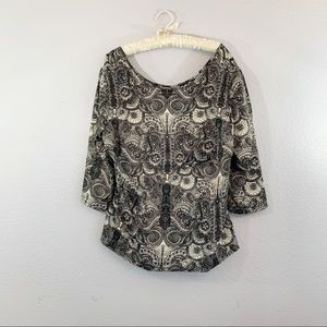 ANA a New Approach Paisley Black White Blouse